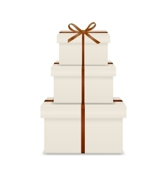 Stack of three realistic white gift boxes with vector