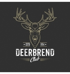 Deer head design element in vintage style vector