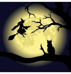 Black cat on the tree at full moon vector