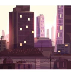 Beautiful sunset over cartoon city with vector