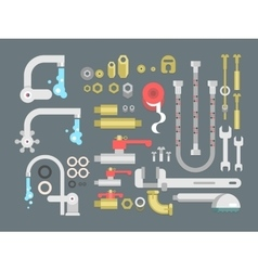 Set plumbing parts vector image