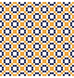 Blue yellow and white simple mosaic tiles seamless vector