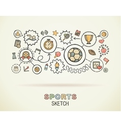 Sport hand draw integrated icons set on paper vector