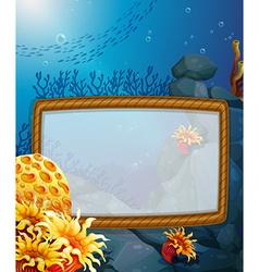 Frame design with underwater background vector