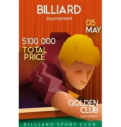 Billiards tournament poster with playing man vector