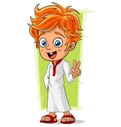 Cartoon cute redhead boy with blue eyes vector