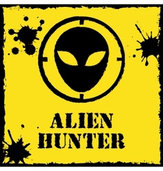 alien hunter logo on red yellow vector image