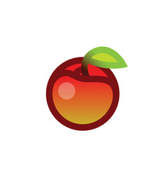 apple with leave vector image vector image
