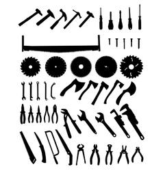 Big tools silhouette set vector
