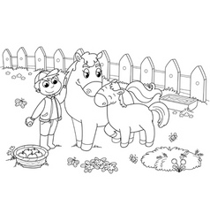 boy with horse and colt vector image vector image