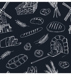 Bread hand drawn seamless pattern vector