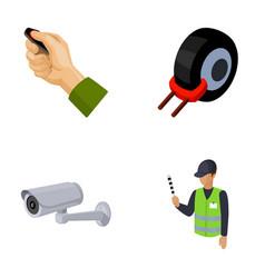 car alarm wheel rim security camera parking vector image vector image