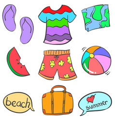 Doodle of object summer beach colorful vector
