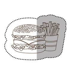 Figure hamburger and fries french icon vector