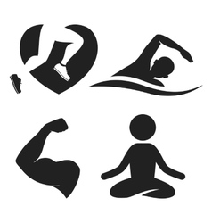 Fitness elements and logos vector image vector image