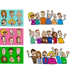 happy people set vector image vector image