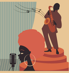 Jazz music players with trumpet saxophone vector