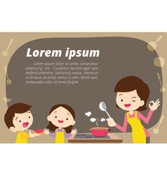Mother daughter and son cooking vector