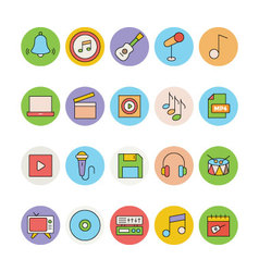 Music Colored Icons 4 vector image
