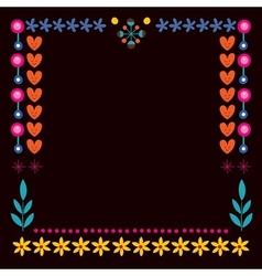 Nature hearts flowers dots frame decorative border vector