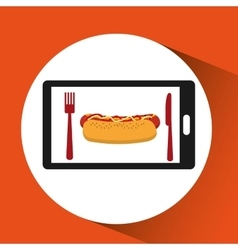 Smartphone order hot dog food online vector