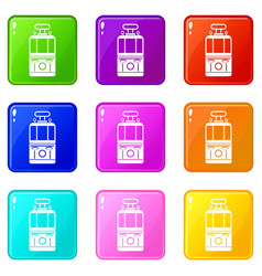 Tram front view icons 9 set vector