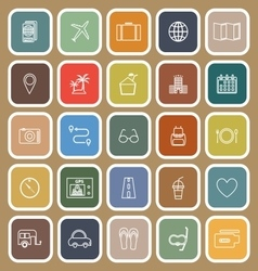 Trip line flat icons on brown background vector