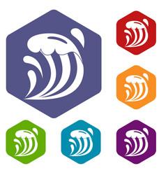 Wave icons set hexagon vector