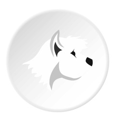 White dog icon flat style vector
