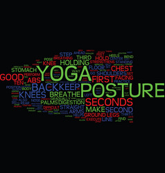 Yoga posture text background word cloud concept vector