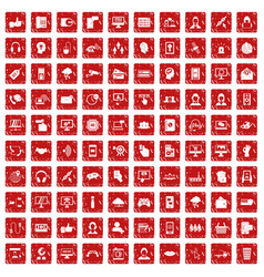 100 contact us icons set grunge red vector