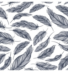 Pattern with blue feathers vector
