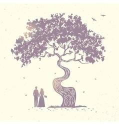 tree silhouette couple vector image
