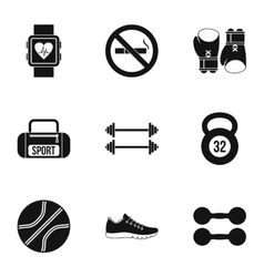 Workout icons set simple style vector