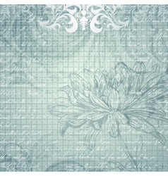 Grungy light blue background with flower vector