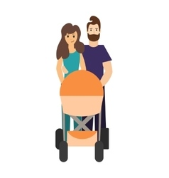 Cartoon cute parents with a stroller vector