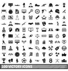 100 victory icons set simple style vector image