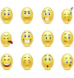 Set of pensive smiles vector