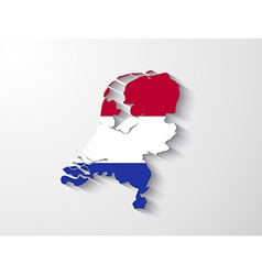 Netherlands map with shadow effect vector image
