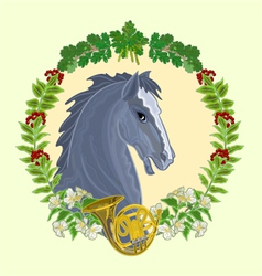 Black horse head of stallion vector