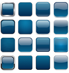 Square dark blue app icons vector
