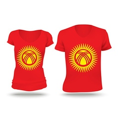 Flag shirt design of kyrgyzstan vector
