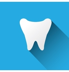 Tooth icon with long shadow vector