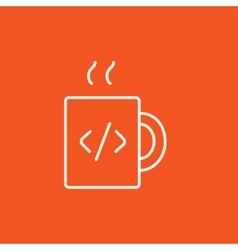 Cup of coffee with code sign line icon vector
