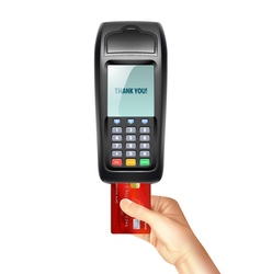 Payment terminal with inserted credit card vector