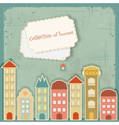 houses on vintage background vector image