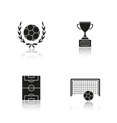 Soccer drop shadow black icons set vector