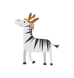 Zebra wearing tribal clothing vector