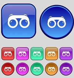 binoculars icon sign A set of twelve vintage vector image