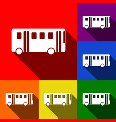 bus simple sign set of icons with flat vector image